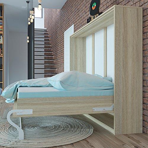 Schrankbett 140x200 cm Horizontal Eiche Sonoma, ideal als Gästebett - Wandbett, Schrank mit integriertem Klappbett, SMARTBett