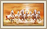 #7: LARGE SIZE Seven ( 7 ) Horses Painting ORANGE (Horses are going in right direction as per Vastu & Fengshui) WITH Frame on Rubberized Special Material -SIZE 26x18 Inch