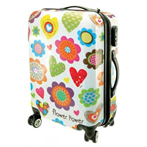 incidence paris valise trolley cabine flower power 55 cm 120 l blanc bagages. Black Bedroom Furniture Sets. Home Design Ideas
