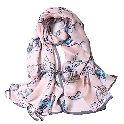 Foulard donna seta sciarpa eleganti moda magnifico grande scialle 70,8'' x 25,6'' rosa