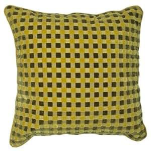 Lot de 4 coussins à damier en velours coupé - jaune citron - 43 x 43 cm