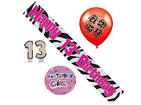 13. Geburtstag Girl Party Pack, Banner, Ballons, Zahlenkerzen, Mega-Button,