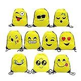Tangger Emoji Rucksack,10 Stück Emoji Turnbeutel für Kindergeburtstag Partytüten Geschenktüte Partyzubehör Mitgebsel Weihnachten Halloween