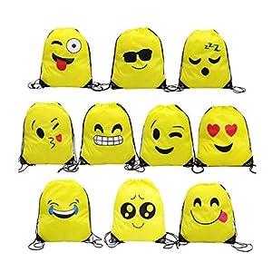 51XoJVT2jsL. SS300  - Emoji Bolsas de Cuerdas,TANGGER 10 Piezas Bolsa de gimnasio Emoji para niños Bolsas de fiesta de cumpleaños Bolsa de regalo Artículos de fiesta Regalo de Navidad