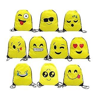 51XoJVT2jsL. SS324  - Emoji Bolsas de Cuerdas,TANGGER 10 Piezas Bolsa de gimnasio Emoji para niños Bolsas de fiesta de cumpleaños Bolsa de regalo Artículos de fiesta Regalo de Navidad
