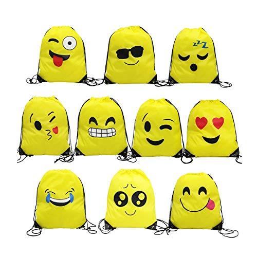 Emoji Bolsas de Cuerdas,TANGGER 10 Piezas Bolsa de gimnasio Emoji para niños Bolsas de fiesta de cumpleaños Bolsa de regalo Artículos de fiesta Regalo de Navidad