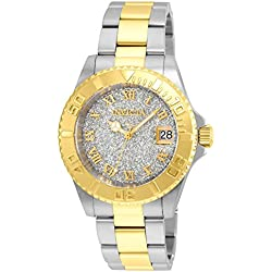 INVICTA Angel Women's Quartz Watch with Silver Dial Analogue Display and Two Tone Stainless Steel Gold Plated Bracelet - 22709