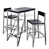 Vislone Lot Table de Bar en Bois et Chaise de Repose-Pieds Table Mange-Debout Table Haute Cuisine...