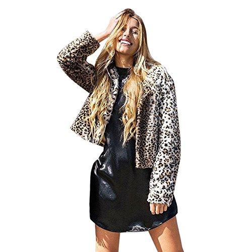 WINWINTOM Oversize Jacke Windbreaker Mantel Frühling Herbst Winter Stilvoll Bequem Outwear, Fashion Womens Leopard Faux Pelz Jacke Mantel Parka Outwear Langarm Strickjacke