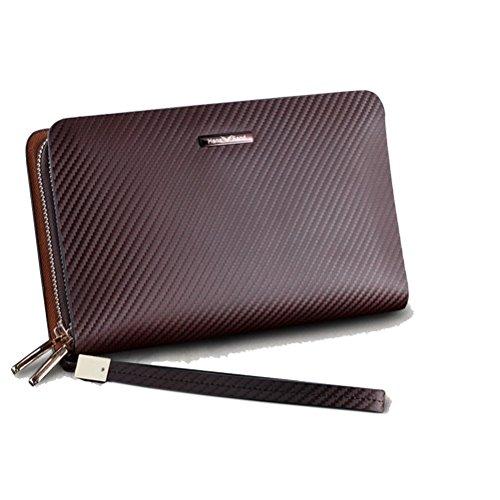 H&W Clutch Leder Unterarmtasche Handgelenktasche Geldbörse Portemonnaie für Herren Braun