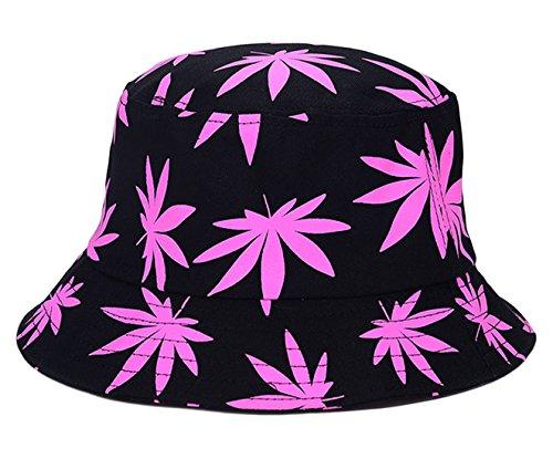 EOZY Unisex Sonnenhut Bucket Hat Fischerhut Cannabis Muster Mütze Rosa (Damen Bucket Hat Schwarze)