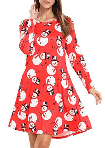 LYXIOF Damen Weihnachten Ausgestellte Swing Kleid Weihnachts Schneemann Santa Top ()