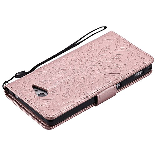 Für Sony M2 Fall, Prägen Sonnenblume Magnetic Pattern Premium Soft PU Leder Brieftasche Stand Case Cover mit Lanyard & Halter & Card Slots ( Color : Brown ) Rose Gold