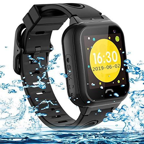 Vannico Montre pour Enfants,Montre Enfant LBS IP67 Anti-Chute Montre connectée Enfant SOS Anti-Perte Écran Tactile Montre Smart Watch Enfants Filles Garçons Cadeaux d'anniversaire (Noir)