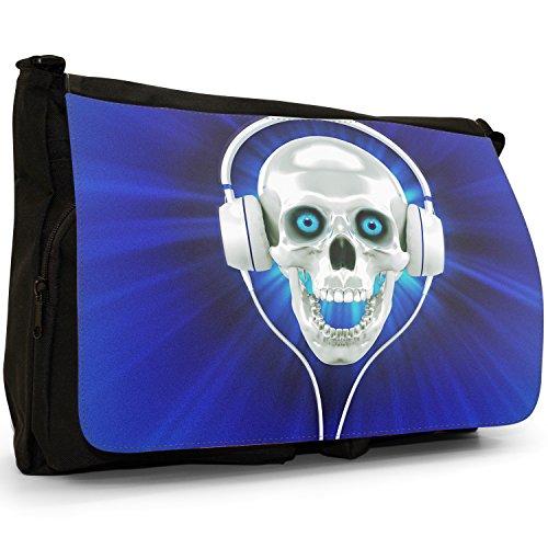 Teschio con cuffie–Borsa Tracolla Tela Nera Grande Scuola/Borsa Per Laptop Blue Skull With Headphones