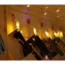 2.2Meter 20 fotos de clip LED luces de cadena para colgar cuadros y baterías Desarrollado para el día, Navidad, cumpleaños, fiesta, boda de San Valentín blanco cálido