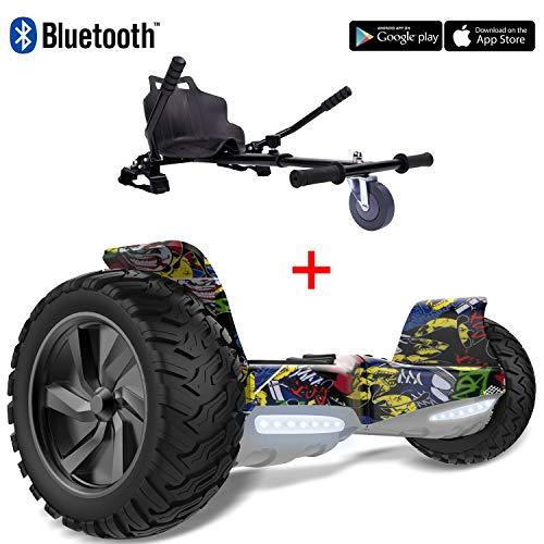 2WD Pack: Hoverkart + Hoverboard 8.5pouces Gyropode Hummer Tout-Terrain avec Haut-Parleur Bluetooth de Haute qualité,fonctionné APP (Hoverboard-Hip & Hoverkart-Noir)