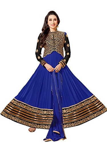 Anarkali Faux Georgette Salwar Suit Semi Stitched with Velvet Koti dress_Blue  available at amazon for Rs.799