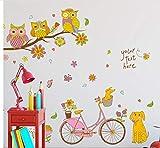 Animales de dibujos animados Bicicleta Pegatinas de Pared Habitación de Los Niños Dormitorio Kindergarten Ecológico Extraíble Tatuajes de Pared Arte Decoración Mural