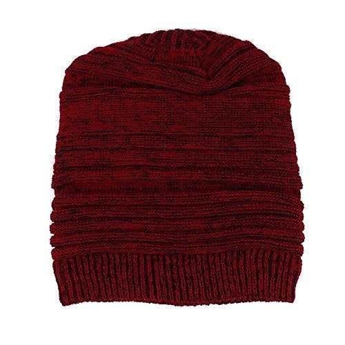 SEWORLD Heißer Einzigartiges Design Mode Damen Plissierter Hut Wollmützen Strickmützen Männer Mode Lässig Warm Winter Häkeln Hüte Gestrickte Wolle Hemming Cap(Rot)