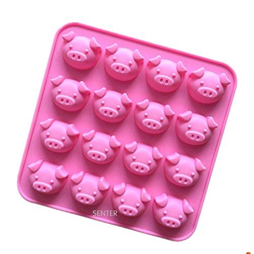 Senter Silikonform / Backform, erhältlich in verschiedenen Designs mit Tiermotiven, geeignet für kleine Kuchen, Desserts und Süßspeisen schwein