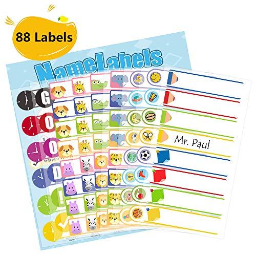 Markurlife wasserdichte Namensaufkleber für Babyflasche, Kindertagesstätte oder Schule, spülmaschinenfest, mikrowellenfest, 88 Etiketten