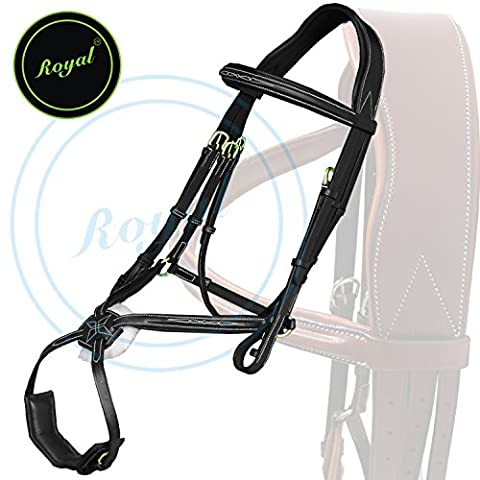 Royal Fully Adjustable Fancy Mexican Bridle with Stylish Broad Head Piece & PP Rubber Grip Reins./ Vegetable Tanned Leather./ Brass