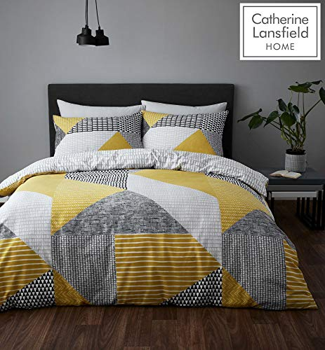 Catherine Lansfield Larsson Geo Easy Care Single Duvet Set Ochre Best Price and Cheapest