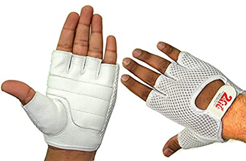 2Fit Maille Gants d'haltérophilie en cuir blanc net Gants de cyclisme Gym Exercice Fitness Sport Homme Femme Unisexe Support Gants, femme Homme Enfant, blanc