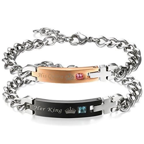 *Flongo 2 Stück Edelstahl Armband Armreif Armkette Silber Schwarz Rose Gold Panzerkette Kette Partnerarmbänder Paar Strass*