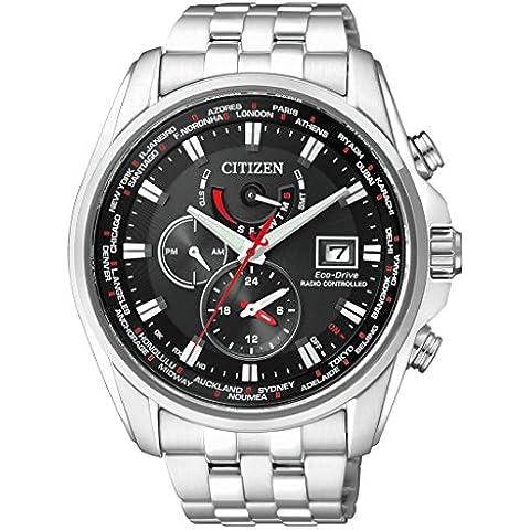 Orologio Uomo Quarzo Citizen display Cronografo cinturino Acciaio inossidabile Argento e quadrante Nero  AT9030-55E