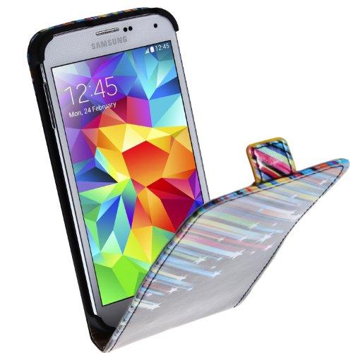 wortek Flip Case Horizontal Samsung Galaxy S5 G900 Tasche Blumen Weiß Blau 3 Sternschnuppe Schwarz Bunt