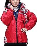 Qitun 3 in 1 Kinderjacke Wasserdichte Jungen Mädchen warm Atmungsaktiv Tarnung Camping jacken Rot S