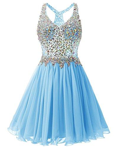 Fanciest Damen Beaded 2016 Abendkleider Ballkleid Kurz Bridesmaid Heimkehr Dress Blue