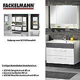 Fackelmann Badmöbel Set Sceno 3-tlg. 80 cm Anthrazit weiß mit Waschtisch Unterschrank & Gussmarmorbecken & LED Spiegelschrank