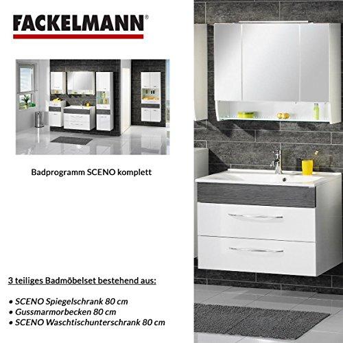 Fackelmann SCENO 3 tlg. Badmöbel Set - Waschbeckenunterschrank / Waschbecken / Spiegel