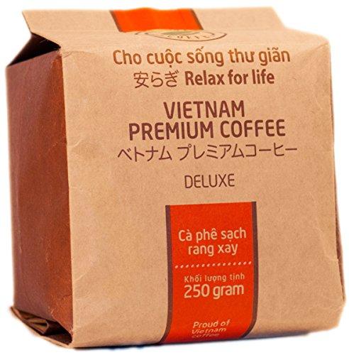 VietBeans Hello5 Deluxe – Hochwertige Kaffeebohnen aus Buôn Ma Thuột Vietnam – Edles Arabica Aroma mit kräftiger Note - hoher Koffeingehalt - 250g (Kaffeebohnen Wien, Ganze Bohne)