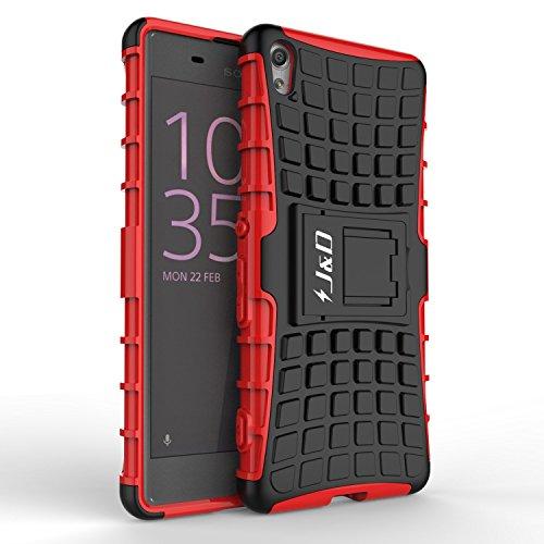 Xperia XA Hülle, J&D [Standfuß] [Doppelschicht] [Heavy-Duty-Schutz] Genaue Passform Hybride Stoßfest Schutzhülle für Sony Xperia XA - Rot