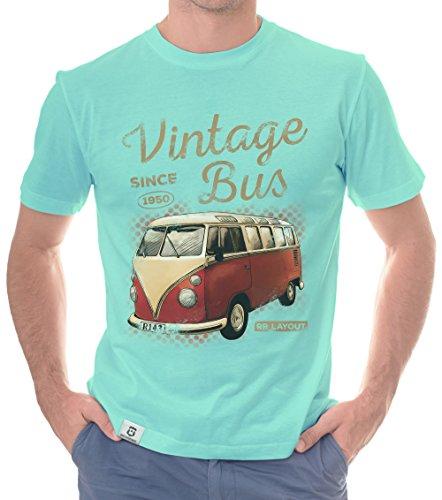 Herren T-Shirt - Vintage Bus - Since 1950 (XXXL, Türkis-Hellbraun)