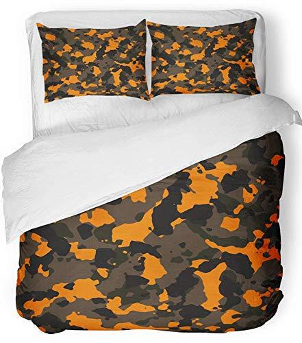 3-teiliges Bettbezug-Set atmungsaktiver gebürsteter Mikrofaser-Stoff Navy Schwarz Orange und Braun Camo-Muster Camoflauge Camouflage Army Abstract Bettwäsche-Set mit 2 Kissenbezügen, Full / Queen Size - Orange Camo Stoff