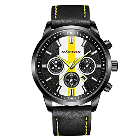 LONGBO Mens Unique Military Leather Band Bussiness Watches Yellow Race