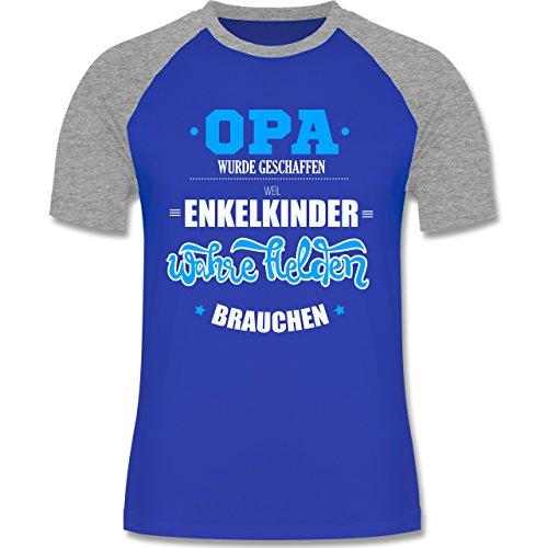 Opa - Opa wurde geschaffen - zweifarbiges Baseballshirt für Männer Royalblau/Grau meliert