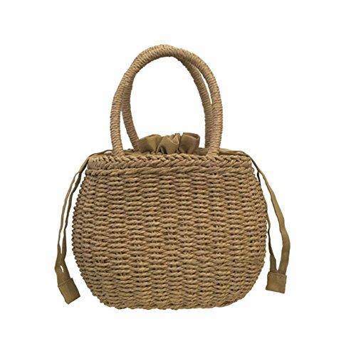 chendongdong Strandtasche Korb Aus Rattan Tasche Tasche Frauen Weben Umhängetasche Sommer Strand Geldbörse und Handtaschen 27 x 18cm (Rattan Weben Körbe)