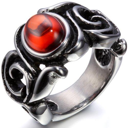 JewelryWe Schmuck Biker Edelstahl-Ring für Damen & Herren, Gotik Drachen Harz Rot, Größe 54 bis...