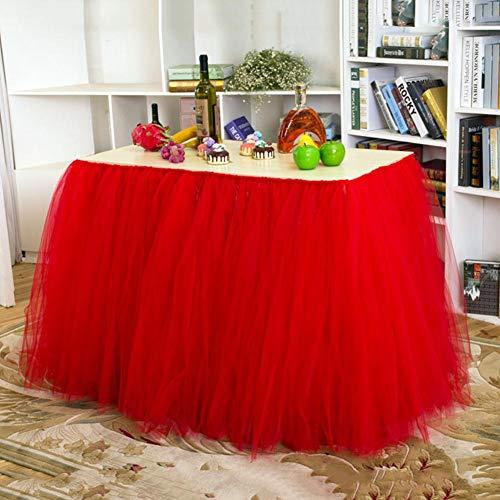 Wetour Tischrock Tüll Tischdeko Rosa/Weiß Hawaii Hula Rock, Rot Tischrock Tischdekoration Für Hochzeit, Geburtstag, Bar, Tropical Beach Party Dekoration
