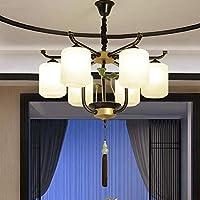 JINQDF Araña Creativa de Loto de Vidrio Estilo Chino Sala de Estar Que Enciende 8 lámparas