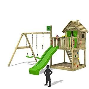 FATMOOSE Aire de jeux en bois DonkeyDome Double XXL Portique jeux Tour d'escalade avec échelle, toboggan et balançoire avec deux sièges