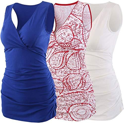 ZUMIY Still-Shirt/Umstandstop, Schwangeres Stillen Nursing Schwangerschaft Top Umstandsmode Unterwäsche (S, Red+Blue+White/3-pk) Rüschen Brust