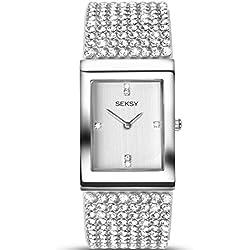 Seksy by Sekonda Krystal Ladies Quartz Watch With Swarovski Set Bracelet And Silver Colour Dial 2375