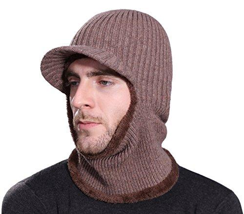 Runtlly Winter Nackenwärmer Mütze Tuque Visor Beanie Ohrwärmer Gesichtswärmer, Damen Jungen Unisex Herren, Navy, Free Size -
